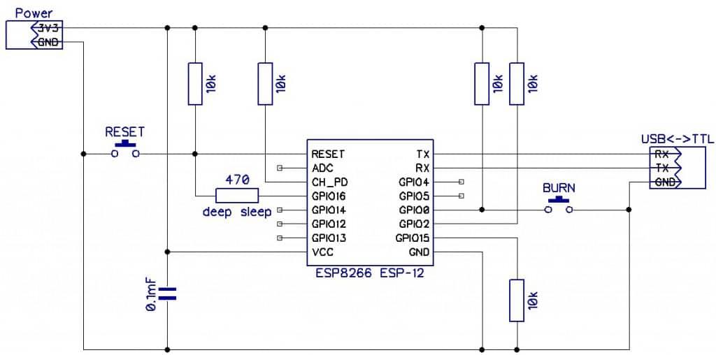 Схема подключения ESP8266 (без автозагрузки прошивки)
