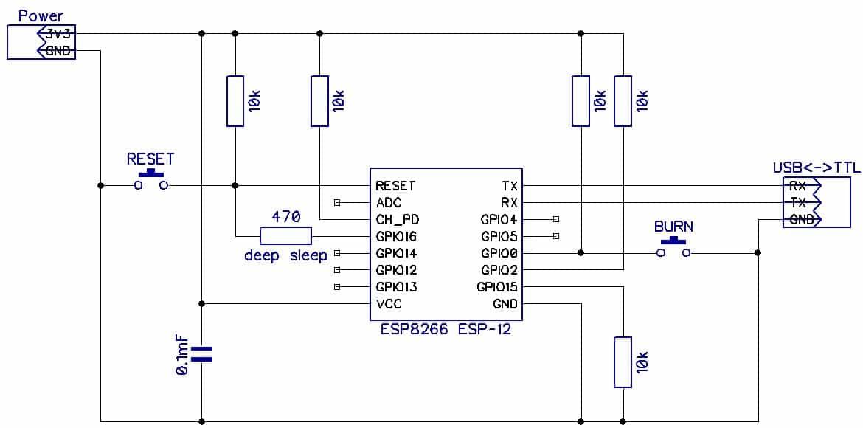 Схема подключения ESP8266 (без